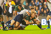 Pieter-Steph du Toit (#7) (DHL Western Province) of South Africa is tackled by Sean Maitland (#11) (Saracens) of Scotland during the Autumn Test match between Scotland and South Africa at the BT Murrayfield Stadium, Edinburgh, Scotland on 17 November 2018.
