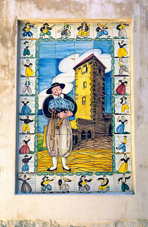 Typical local folk art ceramic picture tile outside house in Port de Valldemossa, Mallorca Majorca, Spain