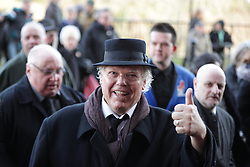 © Licensed to London News Pictures. 28/03/2018. Liverpool, UK. Roy Chubby Brown arrives. The funeral of comedian and performer Sir Ken Dodd , who died on 11th March 2018 at the age of 90 . Photo credit: Joel Goodman/LNP