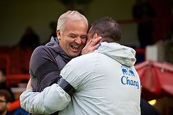 ALDERSHOT, ENGLAND - Friday, April 21, 2017: Chelsea's coach Adrian Viveash [L] and Everton's coach David Unsworth [R] before FA Premier League 2 Division 1 Under-23 match at the Recreation Ground. (Pic by David Rawcliffe/Propaganda)
