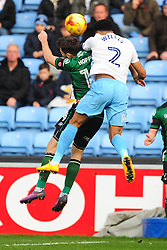 JORDAN WILLIS  COVENTRY CITY HOLDS OF SCUNTHORPES TOM HOPPER,  Coventry City v Scunthorpe United, EFL, Sky Bet League One Ricoh Arena, Saturday 12th November 2016<br /> Photo:Mike Capps