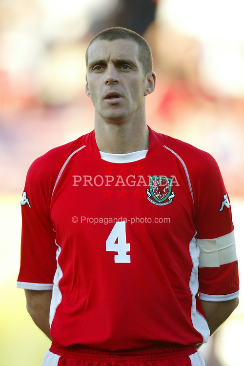 SAN JOSE, USA - Tuesday, May 27, 2003: Wales' captain Andy Melville lines up before the Friendly International match against USA at the Spartan Stadium. (Pic by David Rawcliffe/Propaganda)