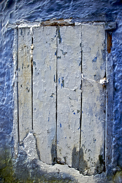 A door in the narrow alleyways of Chaouen, Morocco.