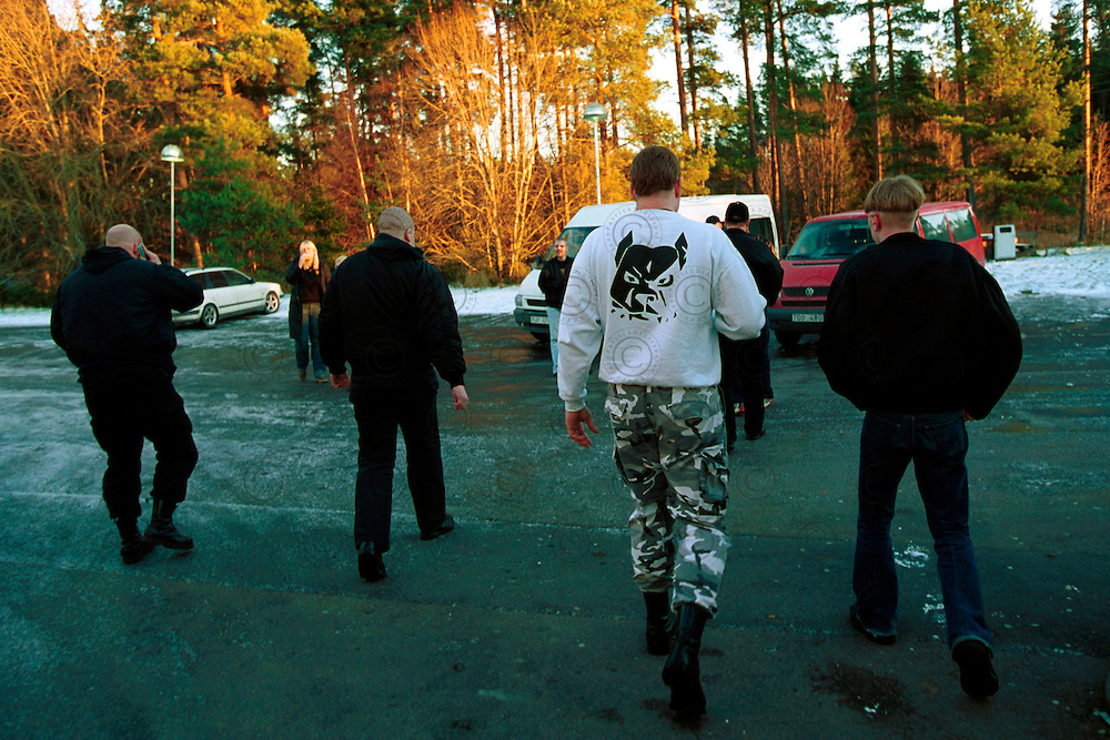 Several members and sympathizers of Blood and Honour a minibus, wait travelling to Salem, in the suburbs of Stockholm. Where 2026 supporters of neo-Nazis and extreme right, came from all over Europe and the USA gathered to march for the third step of support following the murder of one of their own in December 2000 by two immigrates .