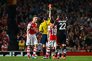Mathieu Debuchy of Arsenal is sent off after receiving a second yellow card br Referee Pedro Proenca during the UEFA Champions League match at the Emirates Stadium, London<br /> Picture by David Horn/Focus Images Ltd +44 7545 970036<br /> 27/08/2014