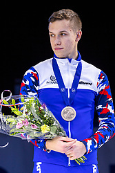 12-01-2019 NED: ISU European Short Track Championships 2019 day 2, Dordrecht<br /> Pavel Sitnikov of Russia pose in the Men's 500m medal ceremony during the ISU European Short Track Speed Skating Championships