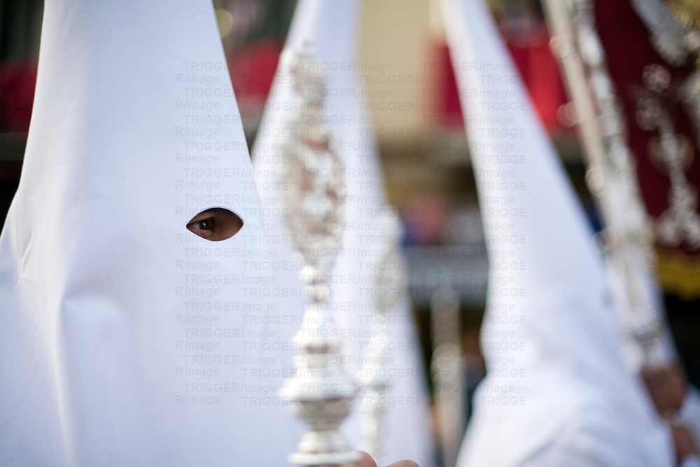 Closeup of a hooded penitent, Holy Week 2008, Seville, Spain