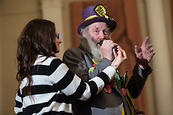 © Licensed to London News Pictures . 18/11/2014 . Kent , UK . Monster Raving Loony Party candidate HAIRY KNORM DAVIDSON , speaks at a hustings in the Rochester and Strood by-election , held at the Corn Exchange in Rochester , this evening ( 18th November 2014 ) . Photo credit : Joel Goodman/LNP