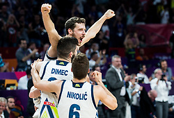 Goran Dragic of Slovenia, Ziga Dimec of Slovenia, Aleksej Nikolic of Slovenia celebrating after winning during the Final basketball match between National Teams  Slovenia and Serbia at Day 18 of the FIBA EuroBasket 2017 when Slovenia became European Champions 2017, at Sinan Erdem Dome in Istanbul, Turkey on September 17, 2017. Photo by Vid Ponikvar / Sportida