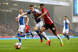 Marcus Rashford of Manchester United takes on Darragh Lenihan of Blackburn Rovers - Mandatory by-line: Matt McNulty/JMP - 19/02/2017 - FOOTBALL - Ewood Park - Blackburn, England - Blackburn Rovers v Manchester United - Emirates FA Cup fifth round