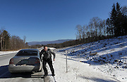 Bennington, VT -  Thursday, Jan. 30, 2014:   Patrolman James Gulley heads back to his patrol car after making a routine motor vehicle stop on RTE 279. <br />   <br /> Gov. Peter Shumlin devoted his entire state of the state address in January to what he called a &quot;full-blown heroin crisis&quot; in Vermont, where twice as many people died of heroin overdoses in 2012 as in the year before. Mr. Shumlin's address focused new attention on the problem, which has hit every corner of the state.  <br /> <br /> CREDIT: Cheryl Senter for The New York Times Heroin in Vermont