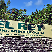 El Rey Mayan Ruins in Cancun, Mexico<br /> El Rey is a small Mayan ruin within the Cancun Hotel Zone adjacent to Laguna Nichupté and across the street from the Caribbean Sea. The archeological site dates from the Late Postclassic period (1200 – 1539 AD) and has been identified as part of an Itza trade route. It was named Rey meaning king because of an excavated sculpture resembling royalty. El Rey takes about an hour to tour the remains of the 40 plus platforms, bases, walls and columns. Also consider visiting the Mayan museum about a mile away. Museo Maya de Cancún exhibits over 400 pre-Columbian artifacts. For a better Mayan ruins experience, rent a car or take a tour bus to Chichen Itza, Tulum and/or Coba. Travel guides for all three are available on this Encircle Photos website.