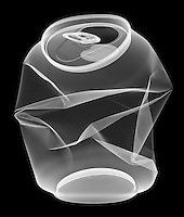 X-ray image of an aluminum can (white on black) by Jim Wehtje, specialist in x-ray art and design images.