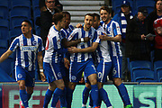 Brighton & Hove Albion centre forward Glenn Murray celebrates after scoring a goal to make it 1-0 during the EFL Sky Bet Championship match between Brighton and Hove Albion and Birmingham City at the American Express Community Stadium, Brighton and Hove, England on 4 April 2017. Photo by Bennett Dean.