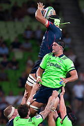 March 1, 2019 - Victoria, VIC, U.S. - MELBOURNE, AUSTRALIA - MARCH 01: Matt Philip (5) of the Melbourne Rebels competes with Tom Franklin (19) of the Highlanders for the ball at The Super Rugby match between Melbourne Rebels and Highlanders on March 01, 2019 at AAMI Park, VIC. (Photo by Speed Media/Icon Sportswire) (Credit Image: © Speed Media/Icon SMI via ZUMA Press)