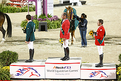 Lejeune Philippe (BEL) Gold medal<br /> Silver to Al Sharbatly Abdullah (KSA) and Bronze to Eric Lamze (CAN)<br /> Alltech FEI World Equestrian Games <br /> Lexington - Kentucky 2010<br /> © Dirk Caremans