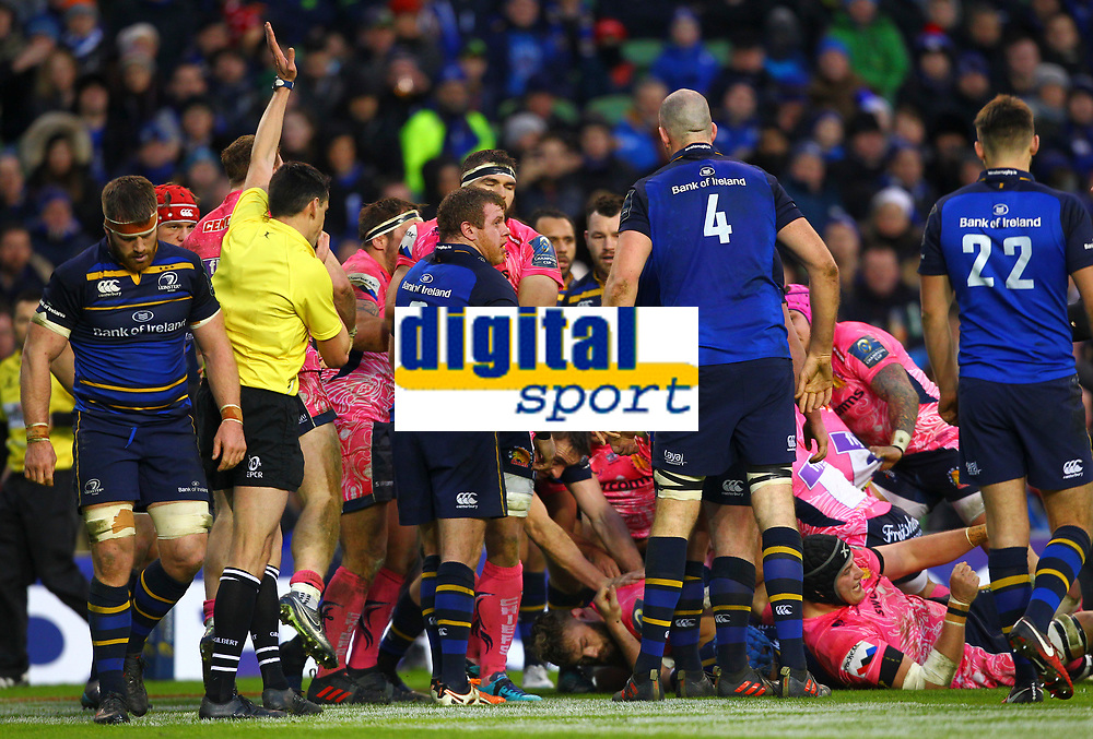 Rugby Union - 2017 / 2018 European Rugby Champions Cup - Pool Three: Leinster vs. Exeter Chiefs<br /> <br /> Referee Pascal Gauzere awards a try to Exeter's Luke Cowan-Dickie, at Aviva Stadium, Dublin.<br /> <br /> COLORSPORT/KEN SUTTON