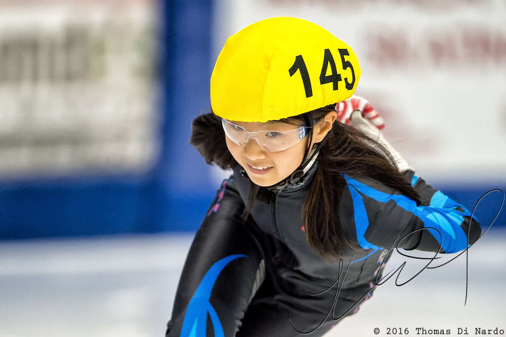 March 19, 2016 - Verona, WI - Saryn Kwon, skater number 145 competes in US Speedskating Short Track Age Group Nationals and AmCup Final held at the Verona Ice Arena.