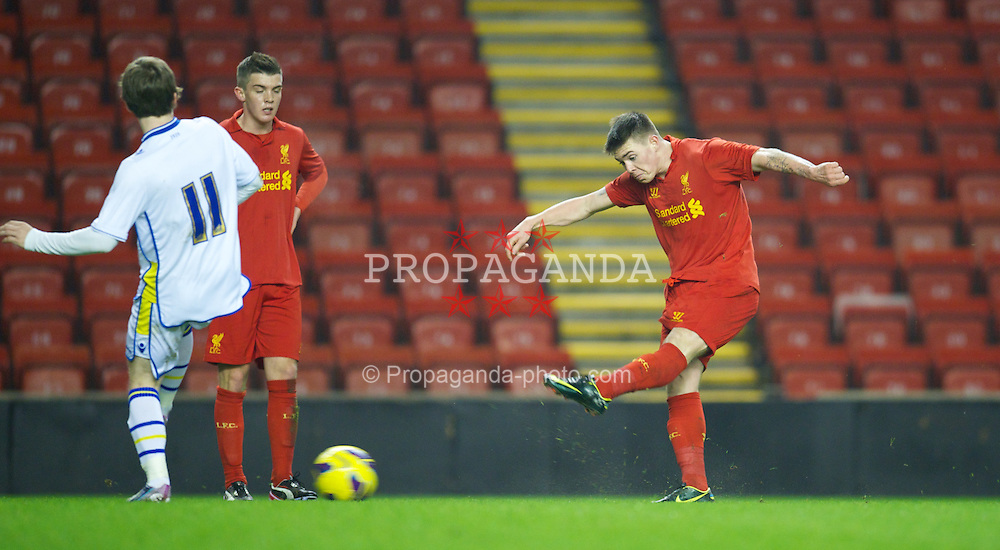 LIVERPOOL, ENGLAND - Thursday, February 28, 2013: Liverpool's Jack Dunn in action against Leeds United during the FA Youth Cup 5th Round match at Anfield. (Pic by David Rawcliffe/Propaganda)
