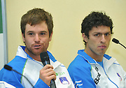 Wroclaw 29/01/2013.Hala Stulecia.Davis Cup .Poland vs Slovenia.Press conference of Slovenian team..Blaz Kavczicz /L/ and Tomislav Ternar /R/.Photo by : Piotr Hawalej