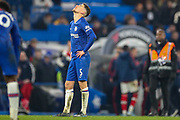 Chelsea midfielder Jorginho (5) looks devastated at full time during the Premier League match between Chelsea and Arsenal at Stamford Bridge, London, England on 21 January 2020.