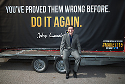 © Licensed to London News Pictures . 01/05/2015 . Manchester , UK . JOHN LEECH on a party advertising trailer ahead of a Liberal Democrat party rally at Chorlton-cum-Hardy Golf Club . Liberal Democrat party leader Nick Clegg visits the constituency of Manchester Withington to deliver a speech on the NHS and campaign with local candidate John Leech . Photo credit : Joel Goodman/LNP