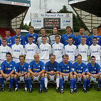 St Johnstone photocall season 2003-2004<br />Pictured from left to right, back row, Brian McLaughlin, Paddy Connolly, Stuart McCluskey, Darren Dods, Kevin Cuthbert, Craig Nelson, Ian Maxwell, John Robertson, Chris Hay and Paul Lovering.<br />Middle row from left, Jocky Peebles (Asst Physio), Stevie McManus, Neil Gibson, Mark Ferry, Craig Johnstone, Ryan Stevenson, Martyn Fotheringham, Eddie Malone, Stephen Fraser and Mark Baxter<br />Front row from left, Nick Summersgill (Physio), Ross Forsyth,<br />Keigan Parker, Mixu Paatelainen (player/coach), Billy Stark (Manager), Jim Weir (player/coach), Mark Reilly, Peter MacDonald and Atholl Henderson (SFA community coach).<br />see story by Gordon Bannerman Tel:07729 865788<br />Picture by Graeme Hart.<br />Copyright Perthshire Picture Agency<br />Tel: 01738 623350  Mobile: 07990 594431