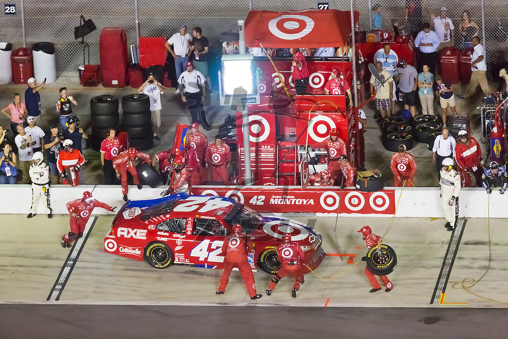 DAYTONA BEACH, FL - JUL 07, 2012:  Juan Pablo Montoya (42) brings in his Target Chevrolet in for service during the Coke Zero 400 at the Daytona International Speedway in Daytona Beach, FL.