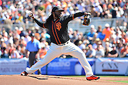 SCOTTSDALE, AZ - MARCH 09:  Starting pitcher Johnny Cueto #47 of the San Francisco Giants delivers a pitch in the first inning against the Colorado Rockies during the spring training game at Scottsdale Stadium on March 9, 2016 in Scottsdale, Arizona.  (Photo by Jennifer Stewart/Getty Images) *** Local Caption *** Johnny Cueto
