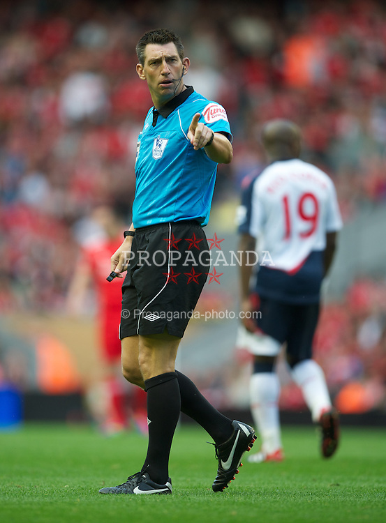 LIVERPOOL, ENGLAND - Saturday, August 27, 2011: Referee Lee Probert during the Premiership match between Liverpool and Bolton Wanderers at Anfield. (Pic by David Rawcliffe/Propaganda)