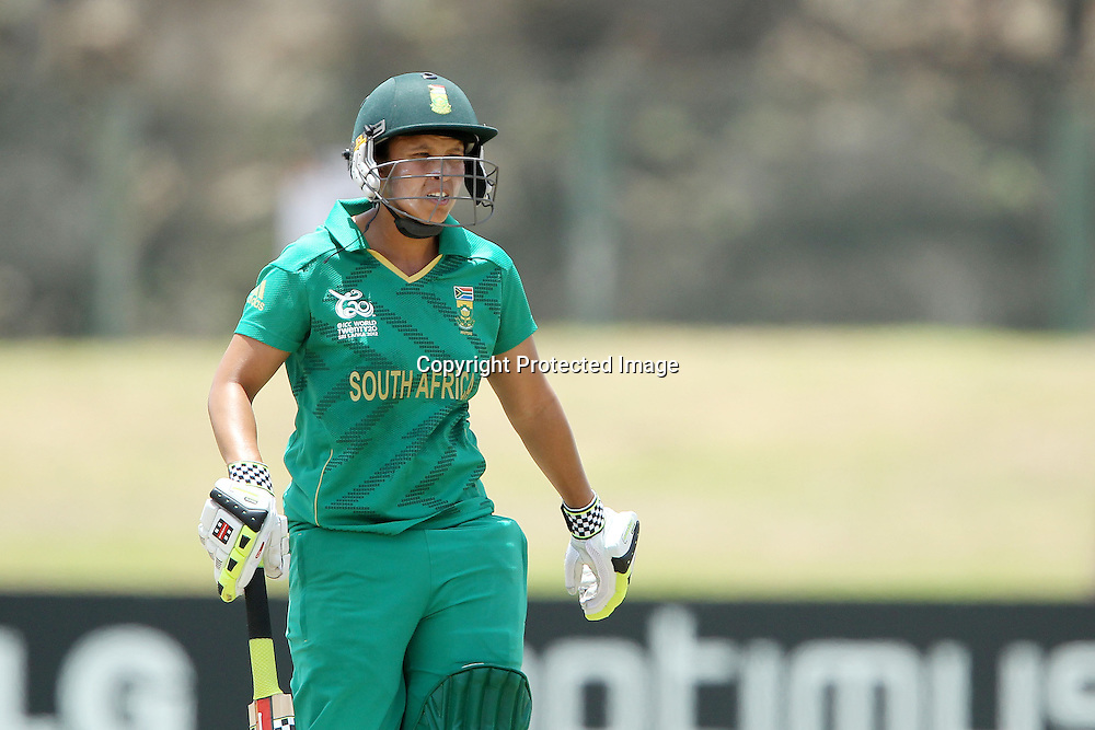 Shandre Fritz departs during the ICC Women's World Twenty20 - 1st Match, Group B, between South Africa and Sri Lanka held at the Galle International Stadium in Galle, Sri Lanka on the 26th September 2012<br /> <br /> Photo by Ron Gaunt/SPORTZPICS