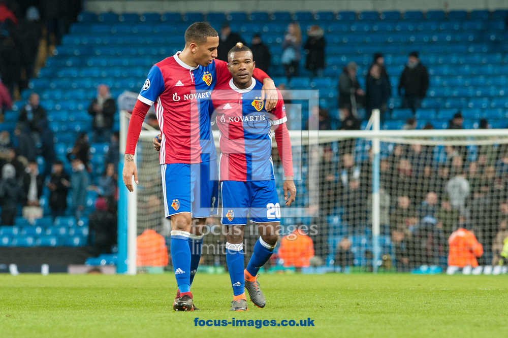 L&eacute;o Lacroix (left) and Serey Die of Basel following the UEFA Champions League match at the Etihad Stadium, Manchester<br /> Picture by Matt Wilkinson/Focus Images Ltd 07814 960751<br /> 06/03/2018