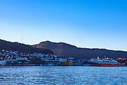 Fjordline ferry Stavanger Fjord, arriving in Bergen, Norway. The Stavanger Fjord is powered by LNG, the largest cruise ferries in the world to be powered by liquified natural gas.