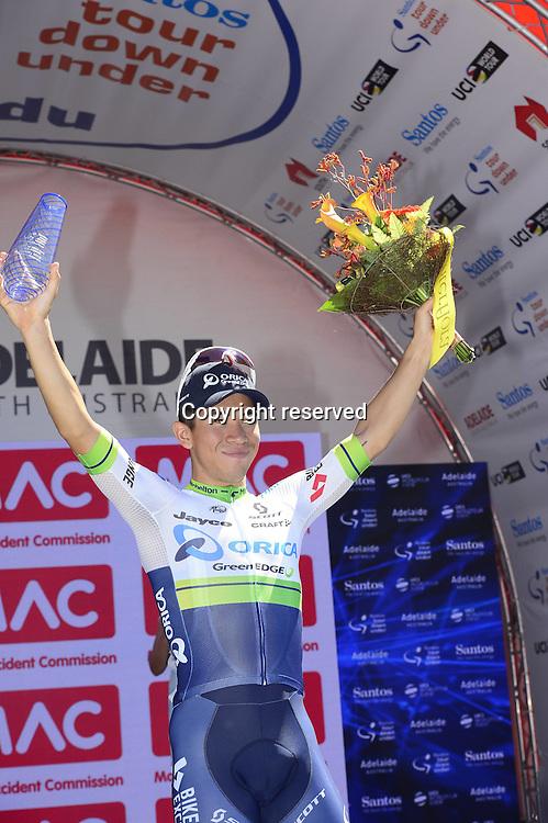 24.01.2016. Adelaide, Australia. Tour Down Under cycing tour, stage 6. Orica Greenedge; Ewan Caleb on the winners podium in Adelaide