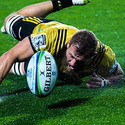 Brad Shields dives for the ball during the Super Rugby match between the Chiefs and Hurricanes at FMG Stadium in Hamilton, New Zealand on Friday, 13 July 2018. Photo: Dave Lintott / lintottphoto.co.nz