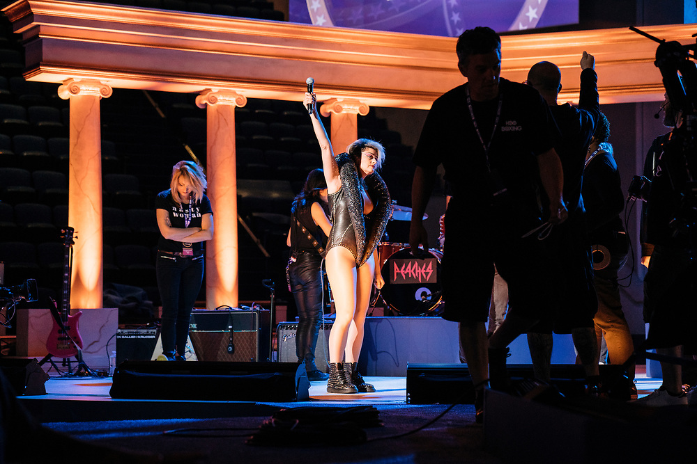 Peaches performs during rehearsals for Full Frontal with Samantha Bee's Not the White House Correspondents' Dinner at D.A.R. Constitution Hall in Washington D.C. on April 28, 2017.