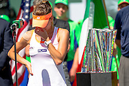 Indian Wells, CA - Agnieszka Radwanka of Poland gets emotional during the trophy presentation after the final match against Flavia Pennetta of Italy during the BNP Paribas Open.