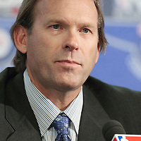 04 October 2010: Minnesota Timberwolves head coach Kurt Rambis is seen during the press conference following the Minnesota Timberwolves 111-92 victory over the Los Angeles Lakers, during 2010 NBA Europe Live, at the O2 Arena in London, England.