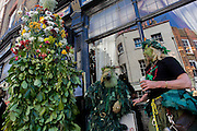 "Members of the Deptford Jack in the Green dance from pub to pub to Greenwich, London to mark the start of spring. In the 16th and 17th centuries in England, people would make garlands of flowers and leaves for the May Day celebration. After becoming a source of competition between works Guilds. Participants wear traditional green faces and forest foliage, at tradition from the 17th Century custom of milkmaids going out on May Day with the utensils of their trade decorated with garlands and piled into a pyramid which they carried on their heads. Amongst modern ""folkies"" and neo-pagans the Jack in the Green has become identified with the mysterious Green Man depicted in mediaeval church carvings and is widely felt to be an embodiment of natural fertility, a spirit of the primeval greenwood and a trickster."