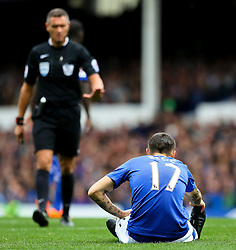 Everton's Muhamed Besic stays down with an injury - Mandatory byline: Matt McNulty/JMP - 07966386802 - 12/09/2015 - FOOTBALL - Goodison Park -Everton,England - Everton v Chelsea - Barclays Premier League