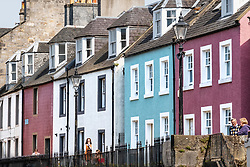 View of row of colourful terraced houses in South Queensferry in West Lothian, Scotland, UK, United Kingdom