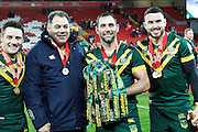 Australia's Cooper Cronk Australia Manager Mal Meninga Cameron Smith and Darius Boyd during the Ladbrokes Four Nations match between Australia and New Zealand at Anfield, Liverpool, England on 20 November 2016. Photo by Craig Galloway.