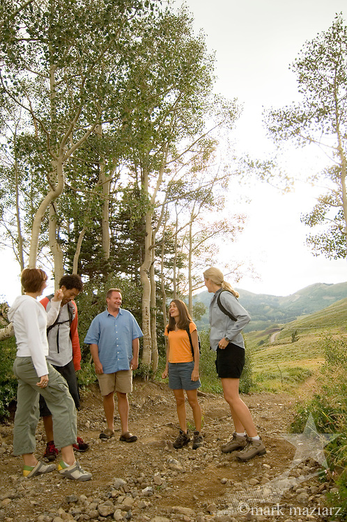 group hiking in mountains