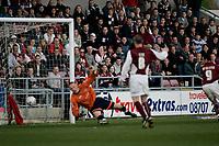 Photo: Marc Atkins.<br /> <br /> Northampton Town v Stockport County. Coca Cola League 2. 17/04/2006. Scott McGleish scores his second goal.