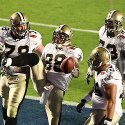 2010 February 07: New Orleans Saints tight end Jeremy Shockey (88) celebrates with teammates following a touchdown catch during a 31-17 win by the New Orleans Saints over the Indianapolis Colts in Super Bowl XLIV at Sun Life Stadium in Miami, Florida.