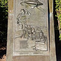 "1938 Martian Landing Site Monument.......Monument commemorates Orson Welles' famous broadcast of a radio adaptation of H.G.Wells' ""War of the Worlds"" in which a Martian invasion force landed at Grovers Mill, New Jersey. The broadcast was initially believed to be true by many."