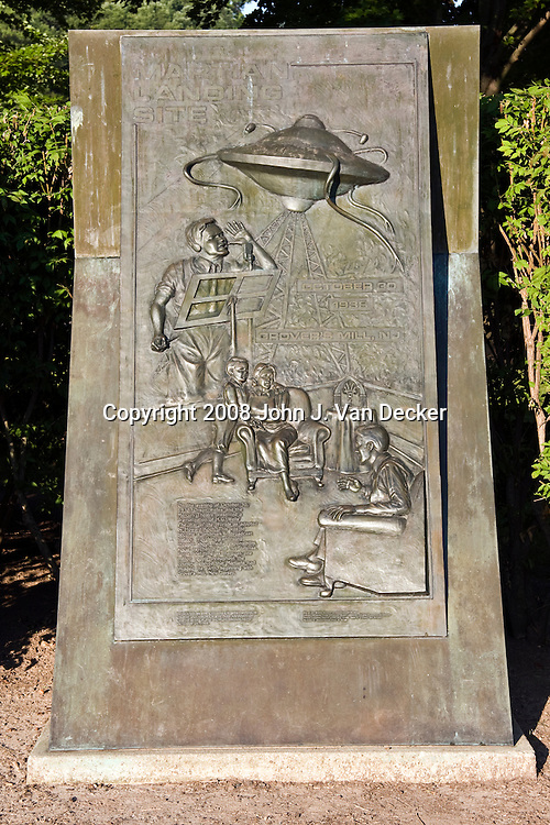 """1938 Martian Landing Site Monument.......Monument commemorates Orson Welles' famous broadcast of a radio adaptation of H.G.Wells' """"War of the Worlds"""" in which a Martian invasion force landed at Grovers Mill, New Jersey. The broadcast was initially believed to be true by many."""