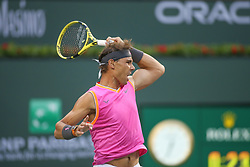 March 10, 2019 - Indian Wells, CA, U.S. - INDIAN WELLS, CA - MARCH 10: Rafael Nadal (ESP) hits a forehand during the BNP Paribas Open on March 10, 2019 at Indian Wells Tennis Garden in Indian Wells, CA. (Photo by George Walker/Icon Sportswire) (Credit Image: © George Walker/Icon SMI via ZUMA Press)