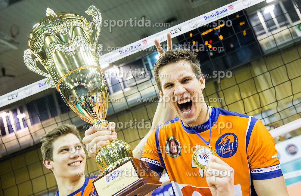 Ziga Donik of ACH and Jan Kozamernik of ACH  celebrate after winning during volleyball match between Hypo Tirol Innsbruck and OK ACH Volley in Final of MEVZA Cup Men -Final Four, on March 12, 2016 in Hala Tivoli, Ljubljana, Slovenia. Photo by Vid Ponikvar / Sportida