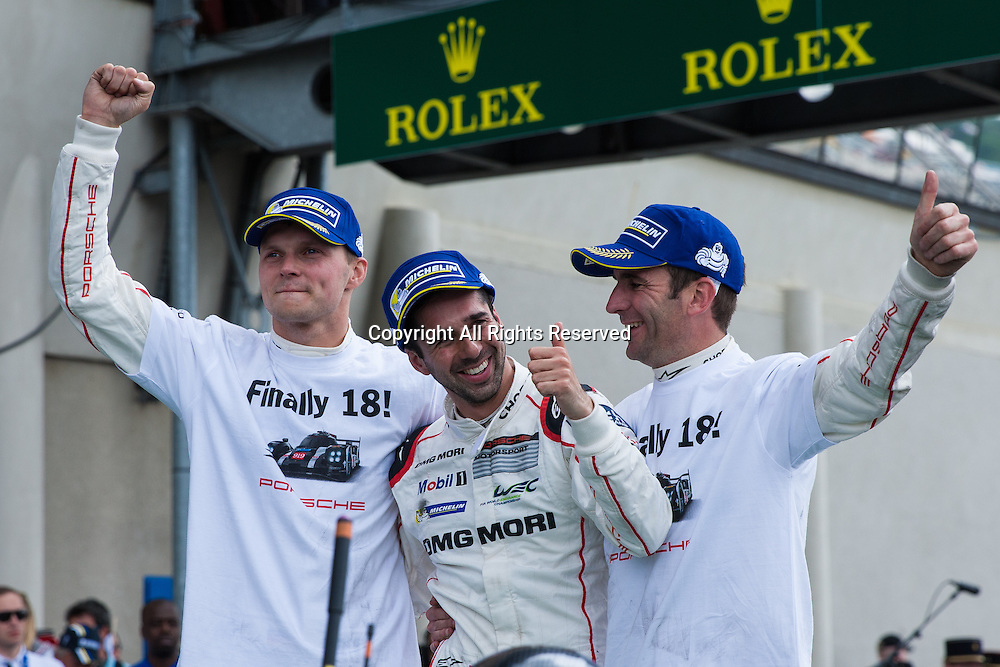 19.06.2016. Le Mans Circuit, Le Mans, France. Le Mans 24 Hours Race. Winning drivers Romain Dumas, Marc Lieb and Neel Jani.